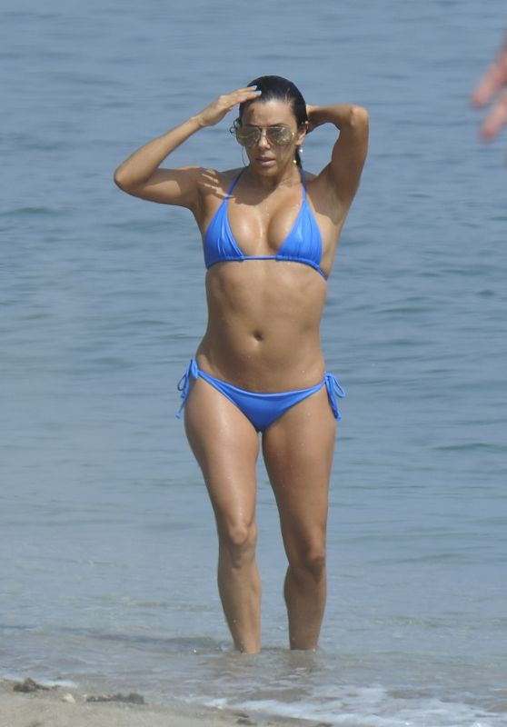 Eva Longoria Hot Bikini Pics - at a Beach in Marbella, Spain, July 2015