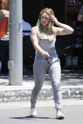 Hilary Duff in Jean Jumpsuit - Out in Beverly Hills, July 2015