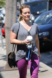 Hilary Duff in Leggings - Leaving a Gym in West Hollywood, July 2015
