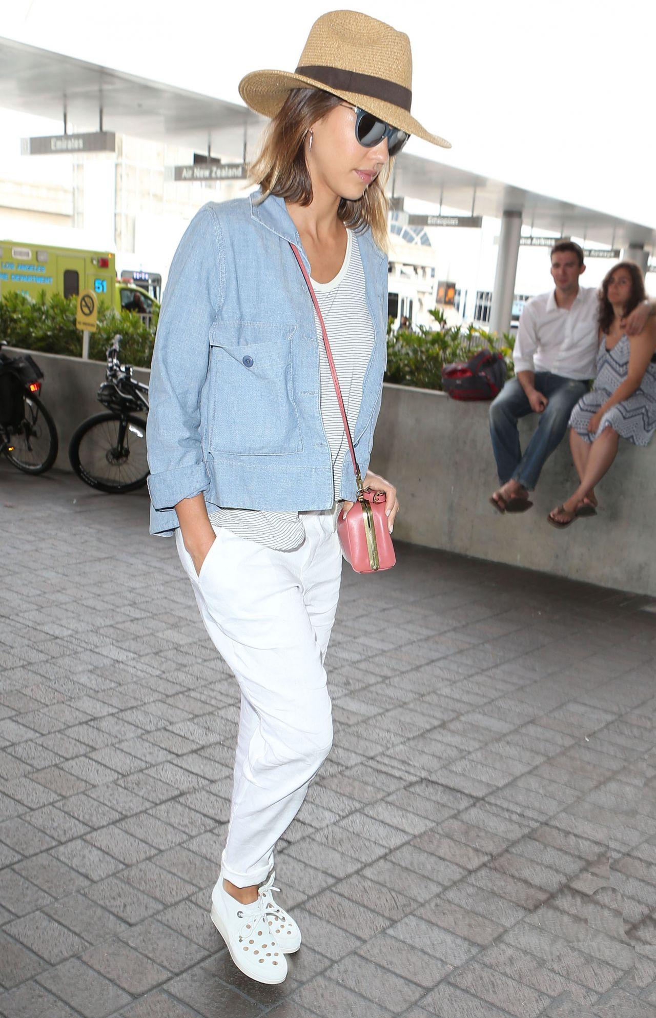 Jessica Alba Airport Fashion - at LAX, July 2015