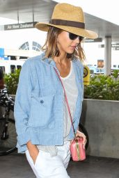 Jessica Alba Airport Fashion - at LAX, July 2015