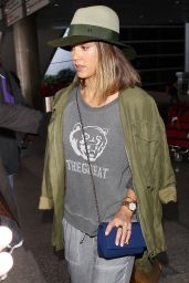 Jessica Alba Airport Style - at LAX, July 2015