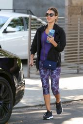 Jessica Alba in Leggings - Leaving a Gym in West Hollywood, July 2015