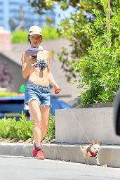 Juliette Lewis in Jeasn Shorts - Takes Her Dog for an Afternoon Walk in Los Angeles July 2015