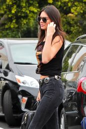 Kendall Jenner and Hailey Baldwin Casual Style -  at Fred Segal in West Hollywood. July 2015