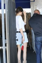 Kendall Jenner in Denim Mini Skirt - Out and About in LA, July 2015