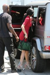 Kylie Jenner in Red Dress - Out in Sherman Oaks, July 2015