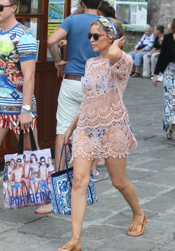 Kylie Minogue - Bikini Under Coverup - Portofino, Italy, July 2015