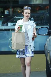Lily Collins in Mini Dress - Leaving EarthBar in West Hollywood, July 2015