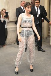 Lily Collins Style - Chanel Fashion Show in Paris, July 2015
