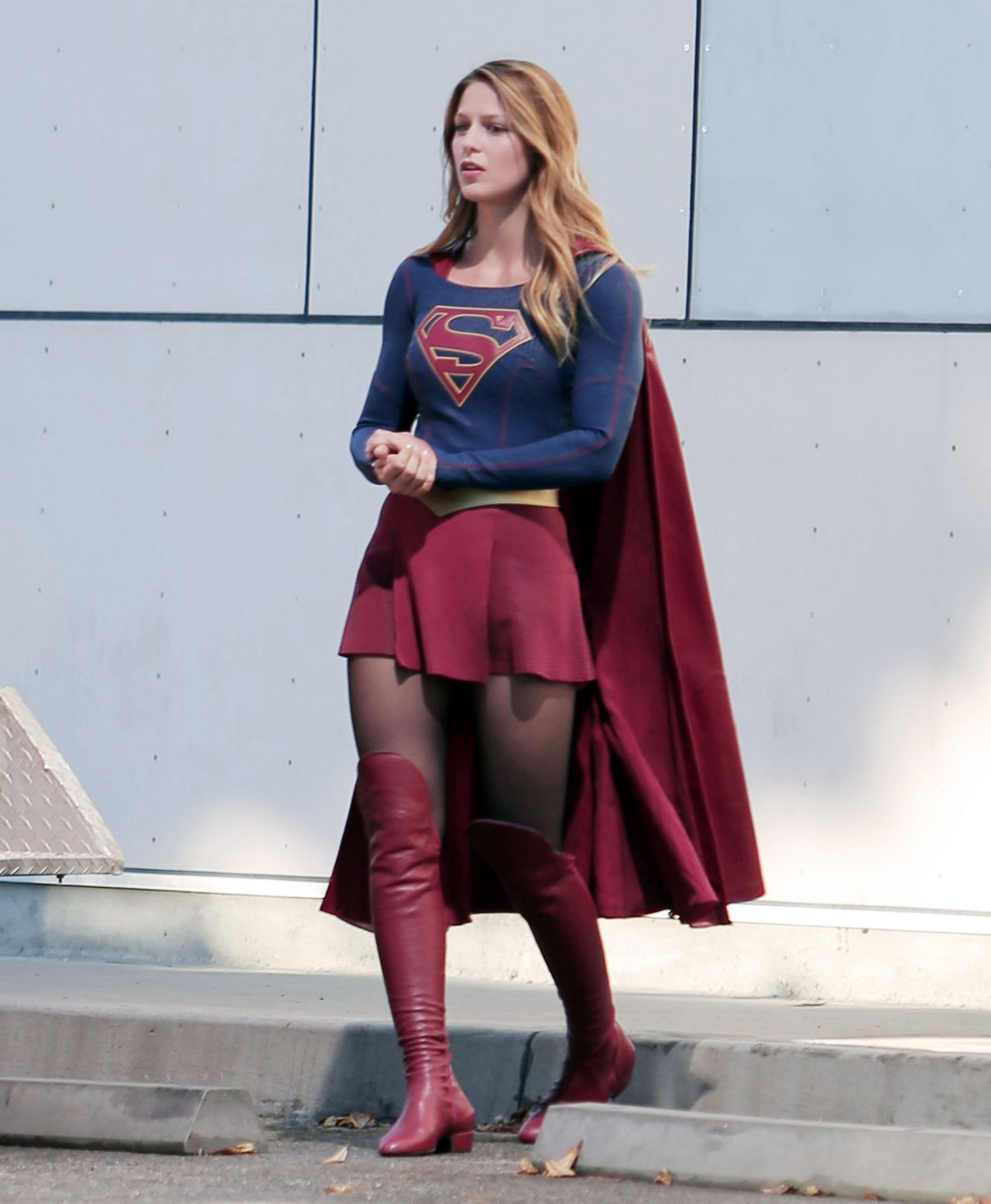 Melissa Benoist -Supergirl Set Photos In Los Angeles, July 2015-7384