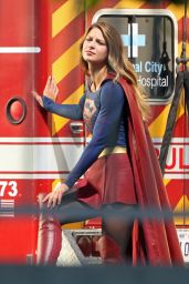 Melissa Benoist -Supergirl Set Photos in Los Angeles, July 2015