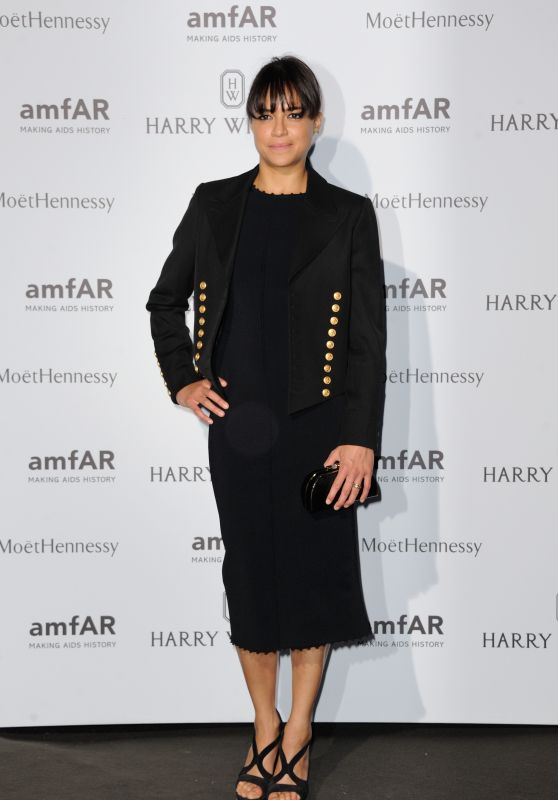 Michelle Rodriguez on Red Carpet – amfAR Dinner in Paris, July 2015