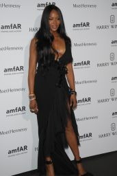 Naomi Campbel on Red Carpet – amfAR Dinner in Paris, July 2015