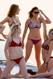 Nina Dobrev Hot in Bikini - on a Boat in St Tropez, July 2015