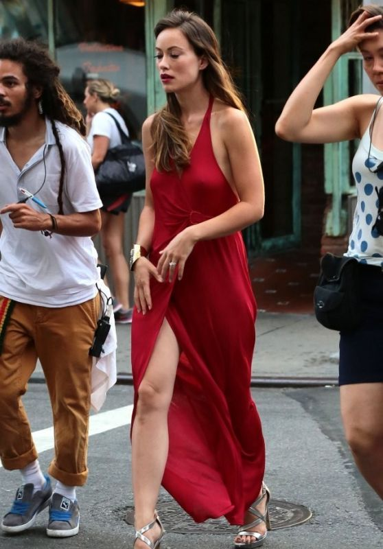 Olivia Wilde in Red Dress - Filming in NYC, July 2015