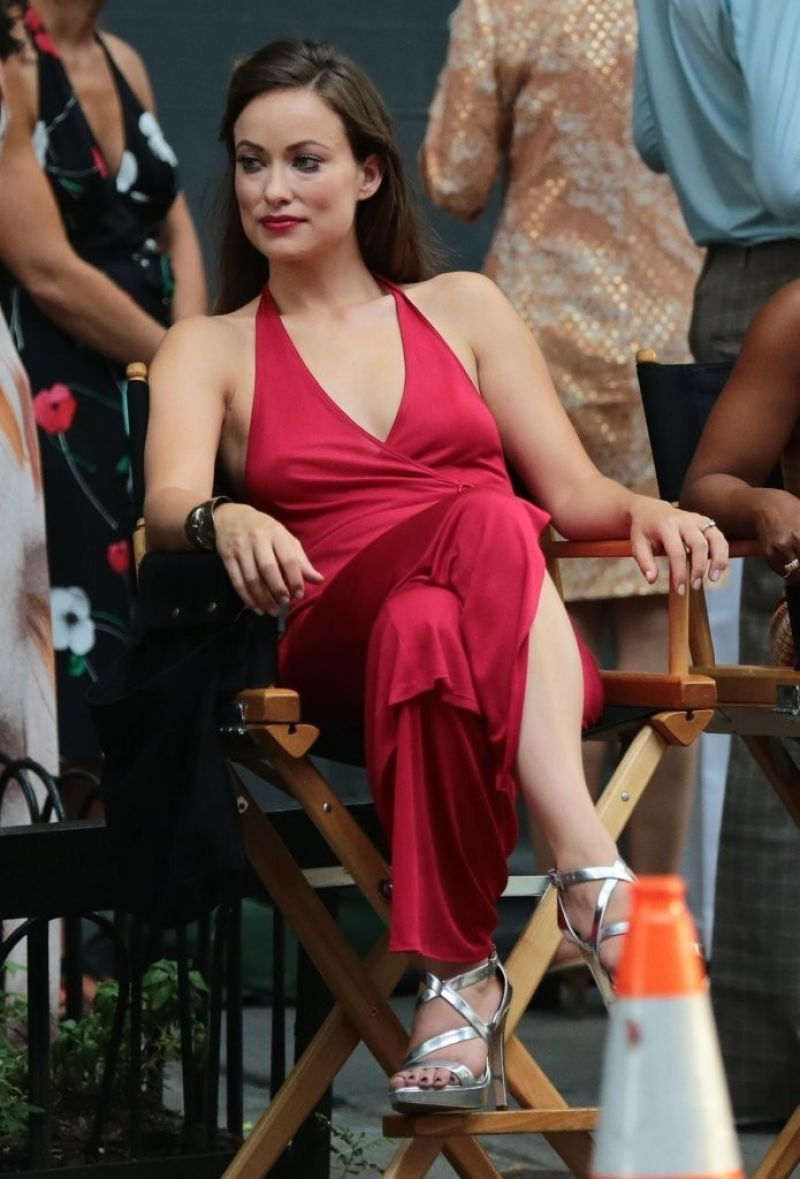 Olivia Wilde In Red Dress Filming In Nyc July 2015