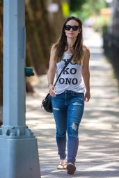 Olivia Wilde in RIpped Jeans - Out in NYC, June 2015