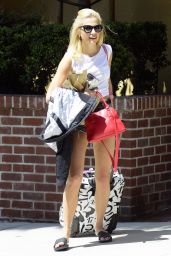 Pixie Lott in Jeans Shorts - Out in LA, July 2015