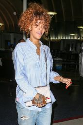 Rihanna Airport Style - at LAX in Los Angeles, July 2015