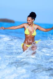 Samantha Mumba in Yellow Bikini - Malibu, June 2015
