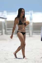 Zoë Kravitz in a Black Bikini at a Beach in Miami, July 2015