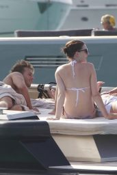Anne Hathaway in a Bikini on a Yacht in Spain, August 2015