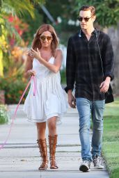 Ashley Tisdale - Walking her Dog in Beverly Hills, August 2015
