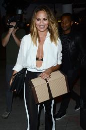 Chrissy Teigen Night Out Style - Outside Craigs Restaurant, August 2015