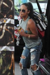 Christina Milian in Ripped Jeans - at her We Are Pop Culture Pop up Shop in LA, August 2015