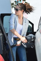Emmy Rossum in Jeans - Leaving Lemonade and Getting Gas in West Hollywood