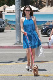 Emmy Rossum in Summer Mini Dress - Walking Her Dog Out in Malibu, July 2015