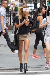 Hailey Baldwin in Mini Skirt - Out in NYC, August 2015