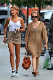 Hailey Baldwin Leggy in Mini Dress - Out in NYC, August 2015