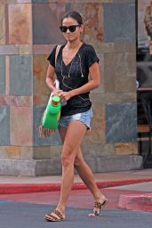 Jamie Chung Leggy in Jeans Shorts - Shopping in Los Angeles, August 2015