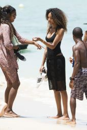 Jourdan Dunn in Swimsuit on the Beach in Barbados, August 2015