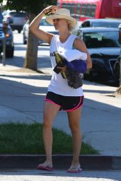 Kaley Cuoco in Shorts - at a Yoga Class in Sherman Oaks, August 2015