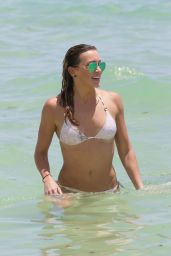Katie Cassidy in White Bikini on the Beach in Miami, August 2015