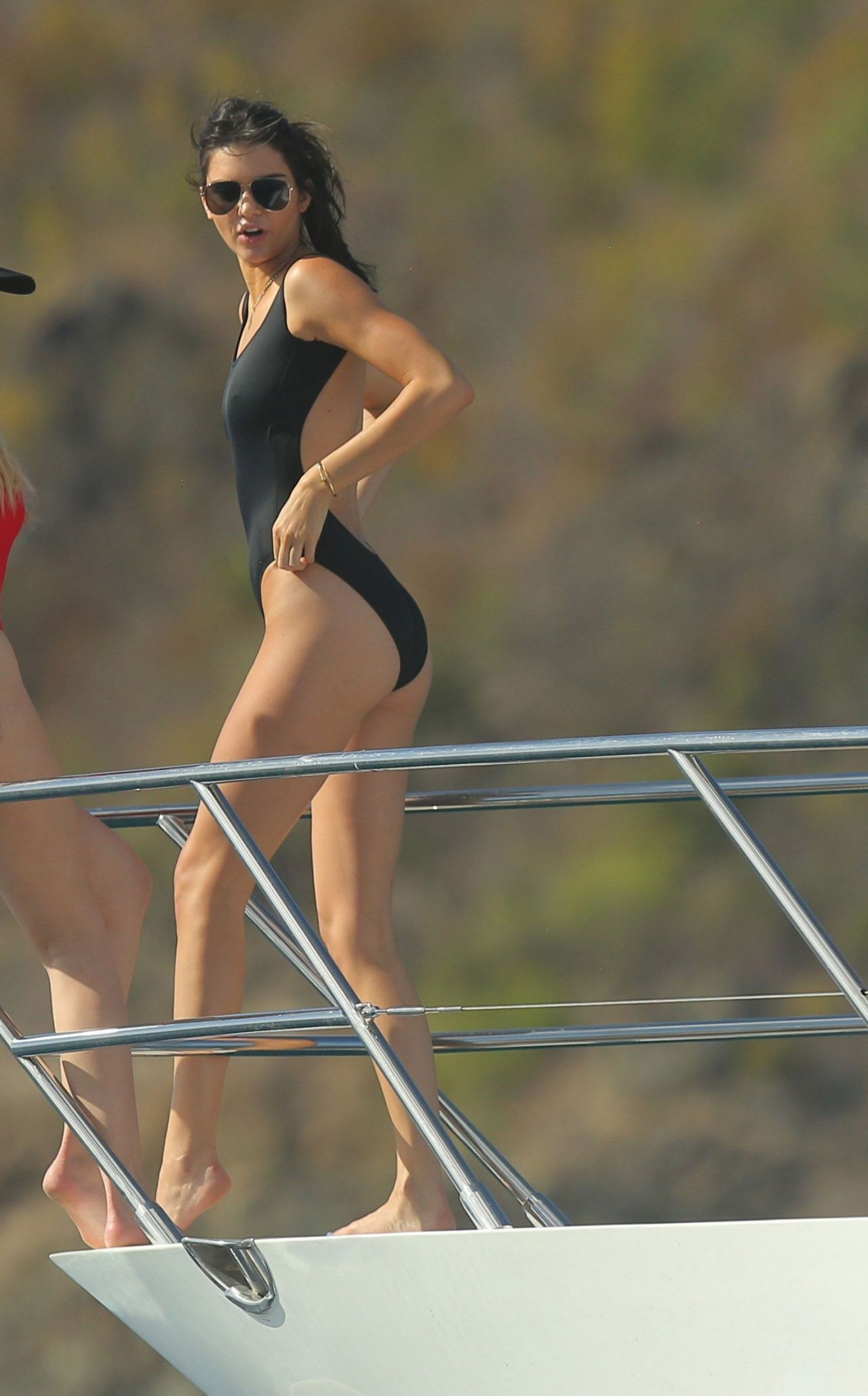 Kendall Jenner in Black Swimsuit - St. Barts, August 2015