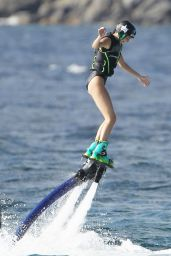 Kendall Jenner in Swimsuit on a Water Jet Pack in St. Barts, August 2015