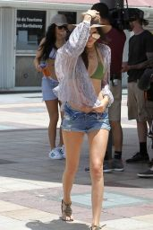 Kendall Jenner Leggy in Jeans Shorts – Going on a boat in St. Barts, August 2015