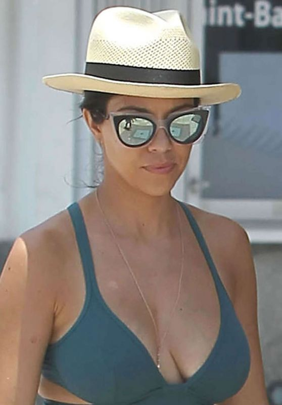 Kourtney Kardashian in Swimsuit - Out in St. Barts, August 2015