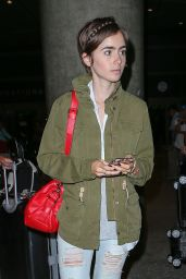 Lily Collins Airport Style - at LAX, August 2015