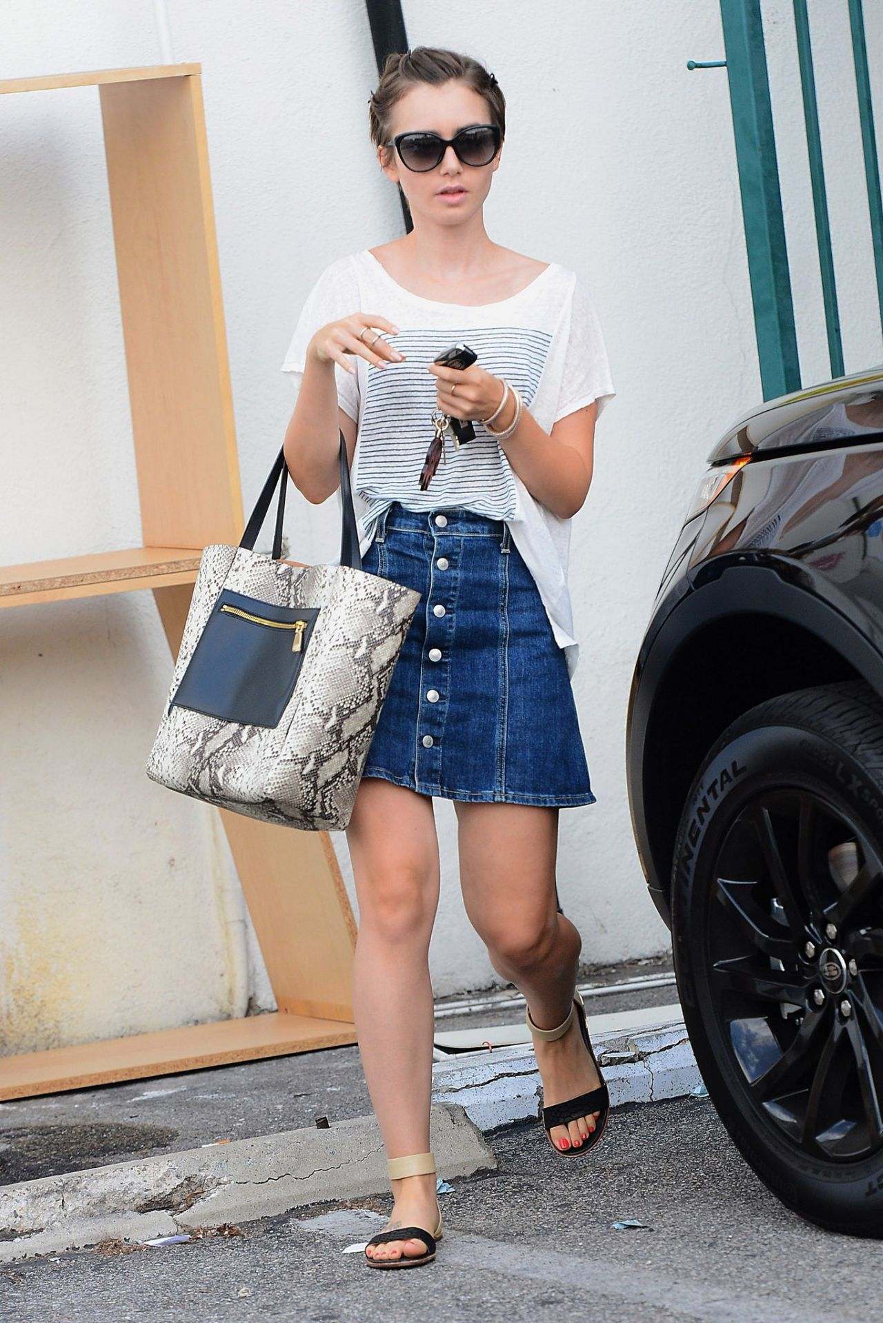 Lily Collins In Jeans Skirt Out In Beverly Hills August
