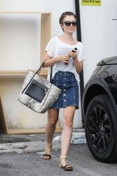 Lily Collins in Jeans Skirt - Out in Beverly Hills, August 2015