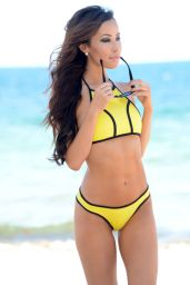Lisa Opie in Yellow Bikini on Miami Beach, August 2015