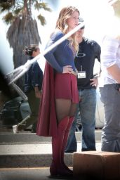 Melissa Benoist - On the Set of Supergirl in Los Angeles, August 2015