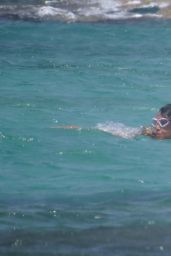 Michelle Rodriguez in a Bikini on a Beach in Formentera, August 2015