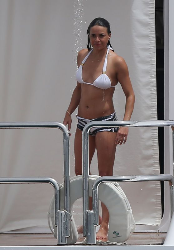 Michelle Rodriguez in a Bikini on a Boat in Formentera, August 2015