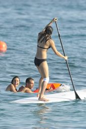 Michelle Rodriguez Paddle Boating in Bikini - Sardinia, August 2015